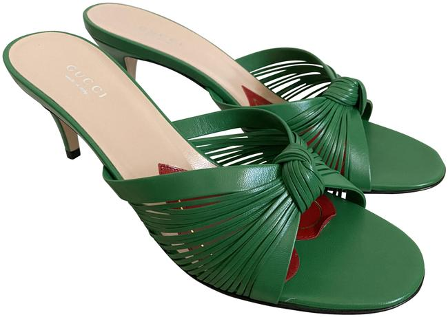 Item - Green Crawford Leather Knotted Strap Mule Sandals Pumps Size EU 38.5 (Approx. US 8.5) Regular (M, B)