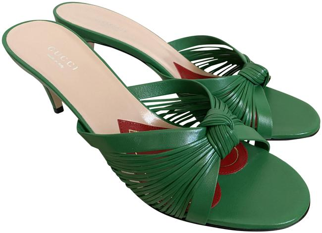 Item - Green Crawford Leather Knotted Strap Mule Sandals Pumps Size EU 39 (Approx. US 9) Regular (M, B)