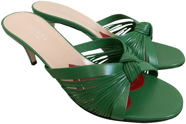 Item - Green Crawford Leather Knotted Strap Mule Sandals Pumps Size EU 36.5 (Approx. US 6.5) Regular (M, B)