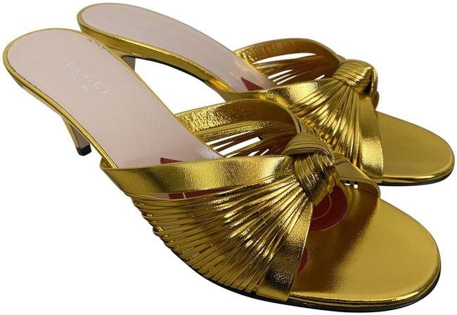 Item - Gold Crawford Leather Knotted Strap Mule Sandals Pumps Size EU 37.5 (Approx. US 7.5) Regular (M, B)