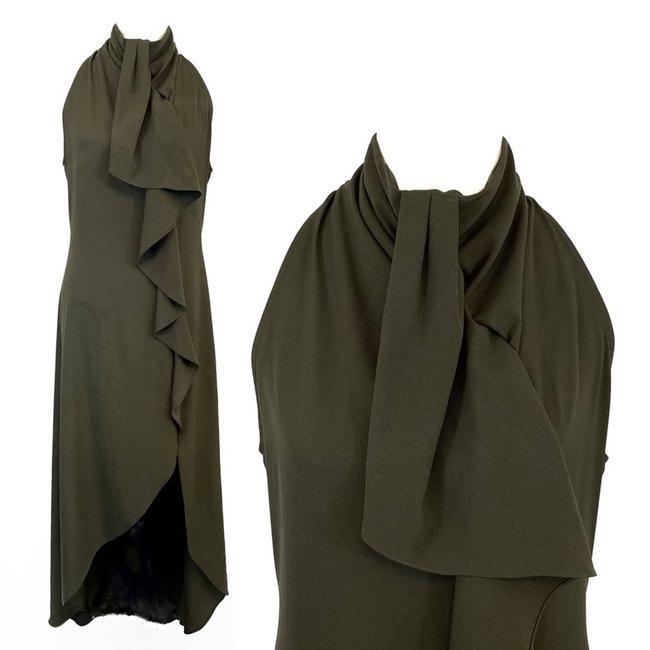 Item - Green Ruffled Olive High Neck Sleeveless Maxi Long Cocktail Dress Size 12 (L)