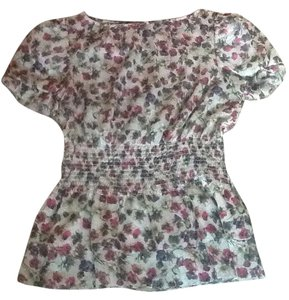 Ted Baker Feminine Peplum Puffy Sleeves Top Floral pink and cream