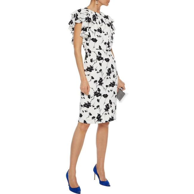 Item - White Ruffled Tier Sleeve Floral Black Night Out Dress Size 4 (S)
