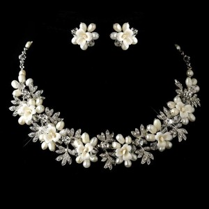 Elegance By Carbonneau Freshwater Pearl Wedding Jewelry Set