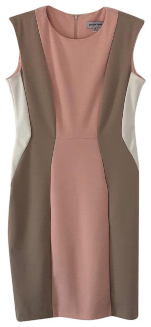 Item - Pink White Tan Mid-length Work/Office Dress Size 10 (M)