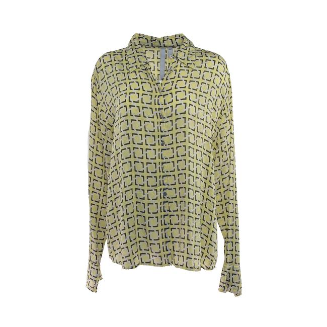 Item - Green Vintage Printed Long Sleeve Blouse Silk Large Button-down Top Size 12 (L)