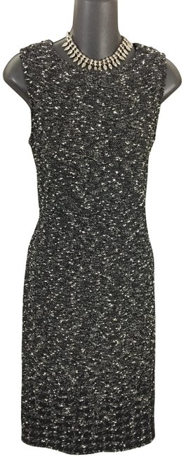 Item - Black White Multi Collection Knit Mid-length Formal Dress Size 6 (S)