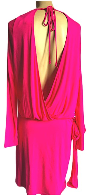 Item - Pink Long Sleeve Cowl Neck Large Short Casual Dress Size 12 (L)