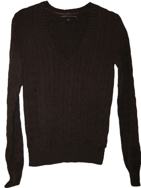 Tommy Hilfiger V-neck Cableknit Brown Sweater Tommy Hilfiger V-neck Cableknit Brown Sweater Image 1