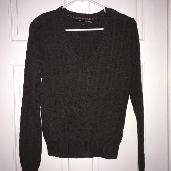 Tommy Hilfiger V-neck Cableknit Brown Sweater Tommy Hilfiger V-neck Cableknit Brown Sweater Image 2