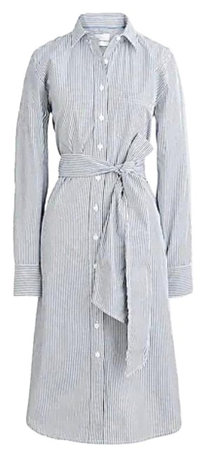 Item - Navy and White Classic Fit Poplin Shirtdress Mid-length Work/Office Dress Size 4 (S)