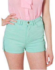 American Apparel High-waist Zipper Short Stretch Twill Denim Shorts