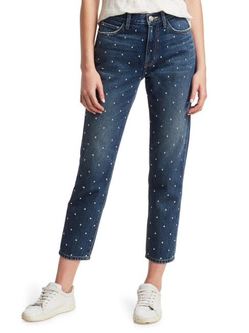Item - Blue Medium Wash The Vintage Cropped Slim Silver Studded High-rise Skinny Jeans Size 27 (4, S)