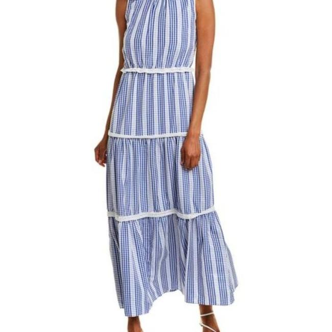 Item - Blue Gingham Stripe Tiered Long Casual Maxi Dress Size 12 (L)