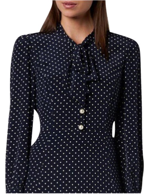Item - Navy Blue and White L Mortimer Mid-length Work/Office Dress Size 12 (L)