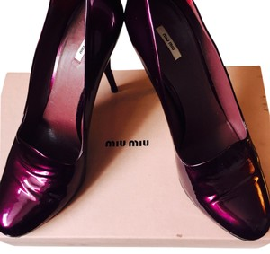 Miu Miu Patent Leather Work Daliy High Heel Purple Pumps