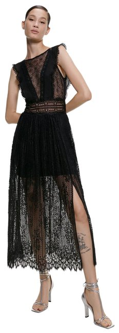 Item - Black XS Contrasting 8741/231 Mid-length Night Out Dress Size 2 (XS)
