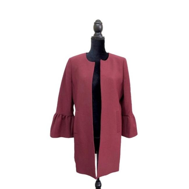 Item - Maroon Puff Bell Sleeve Open Front Jacket Size 8 (M)