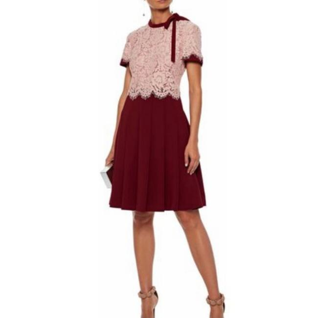 Item - Pink/Red Lace Pleated Tie Neck Mid-length Cocktail Dress Size 2 (XS)