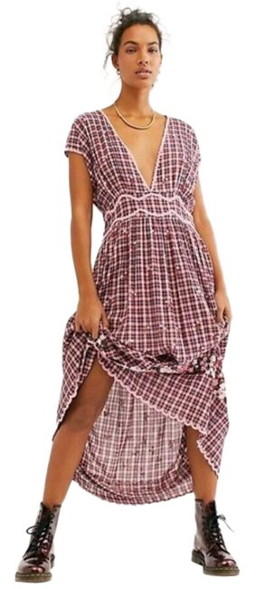 Item - Red/Pink Jonky Beaded Plaid V Neck Long Casual Maxi Dress Size 6 (S)