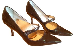 Manolo Blahnik Leather Mary Jane Chocolate Brown Pumps