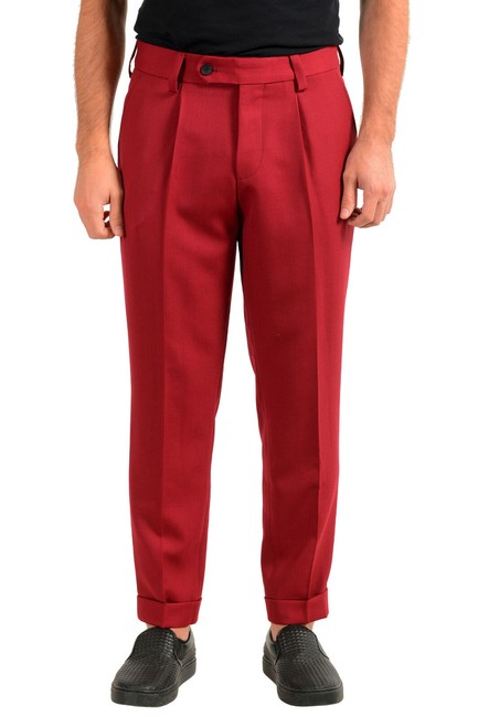 """Item - Red Men's """"Porto"""" Wool Pleated Casual Us 32r It 48 Pants Size OS (one size)"""