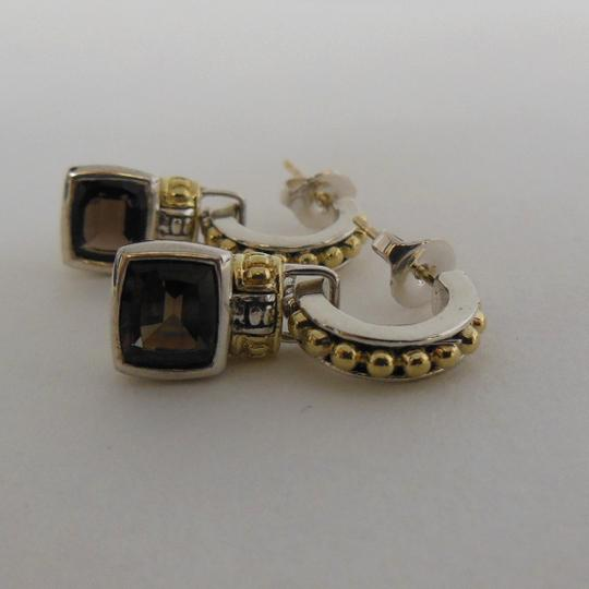 Lagos Lagos Sterling Silver 18K Gold Small Hoops with Citrine & Smoky Quartz