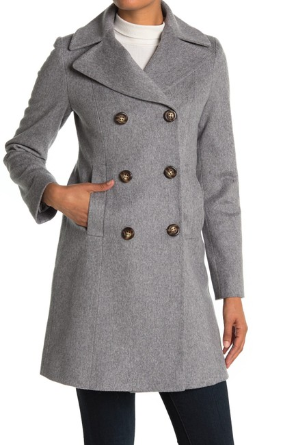 Item - Grey Heather Notch Collar Double Breasted Wool Coat Size 14 (L)