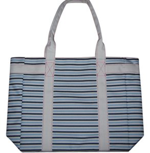Este Lauder Tote in White w/navy blue and light blue stripes