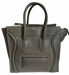 Céline Micro Luggage Medium Tote in Olive Green