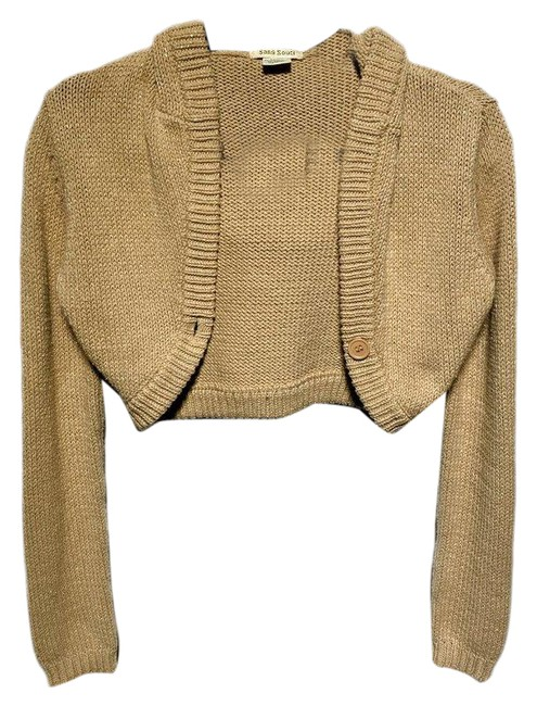 Item - Womens Gold Glitter Hooded Brown Sweater