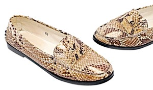 Tod's Driving Shoe Brown & Ivory Snakeskin Flats