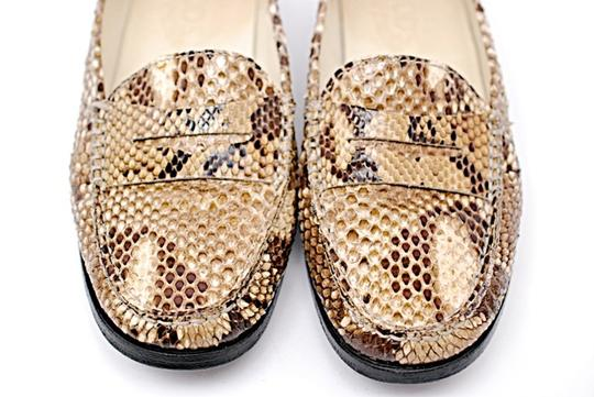 Tod's Driving Brown & Ivory Snakeskin Flats