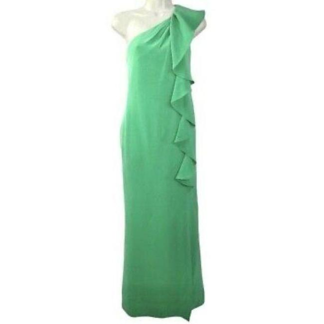 Item - Green Silk Georgette One Shoulder Gown Long Cocktail Dress Size 0 (XS)