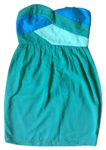 Modcloth short dress Blue, green Strap Strapless on Tradesy