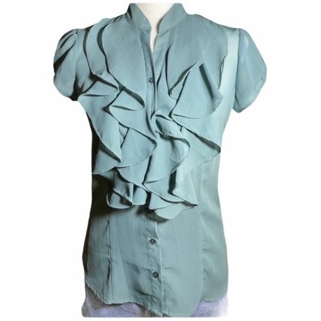 Item - Green Blue Sheer Ruffled Button S Blouse Size 4 (S)