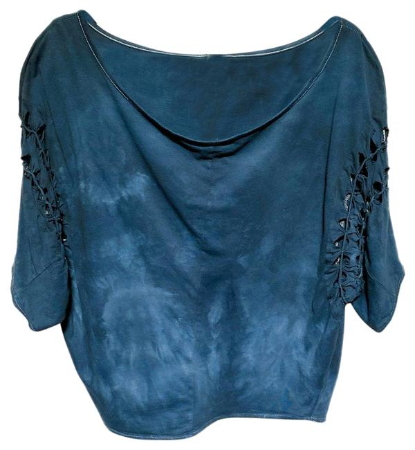 Item - Blue Womens Tie-dye Braided Sleeves Blouse Size 2 (XS)