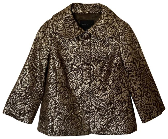Item - Gold and Brown Brocade Silk Coat Jacket Size 8 (M)