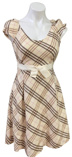 Item - Beige Bow Accent Mid-length Short Casual Dress Size 2 (XS)