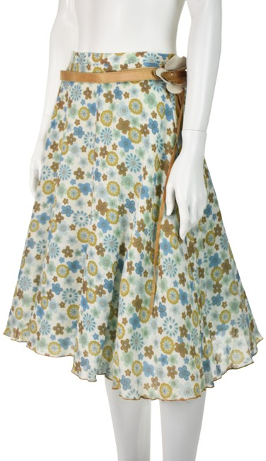 Item - Multicolored Floral with Leather Belt Full Skirt Size 4 (S, 27)