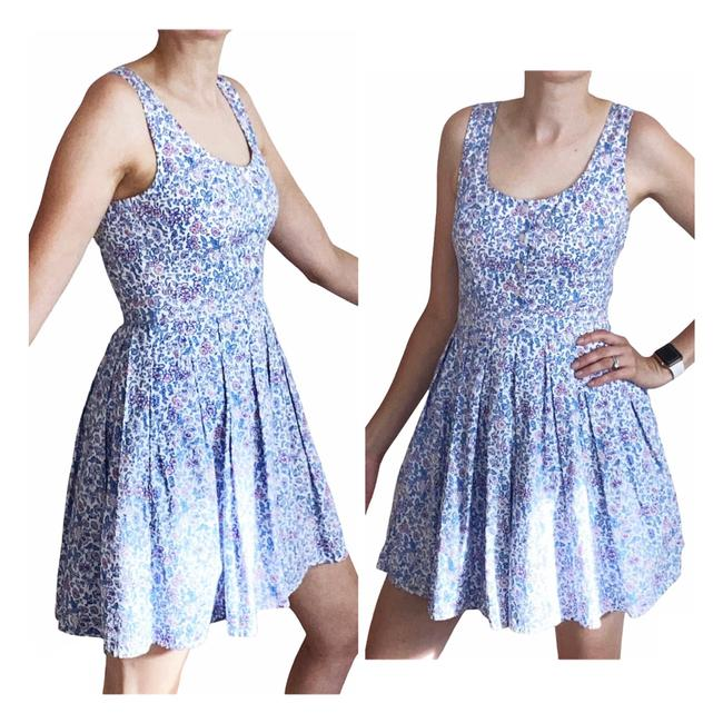Item - Blue Pink & White Floral Fit Flare Cotton Short Casual Dress Size 4 (S)
