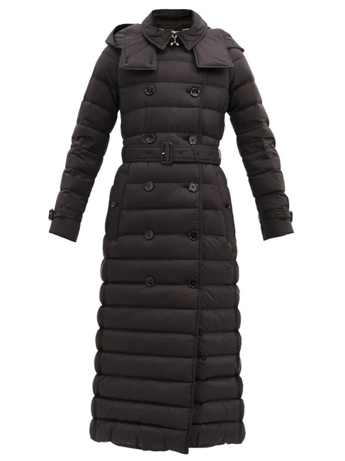 Item - Black Arniston Long Double-breasted Quilted Puffer Coat Size 4 (S)