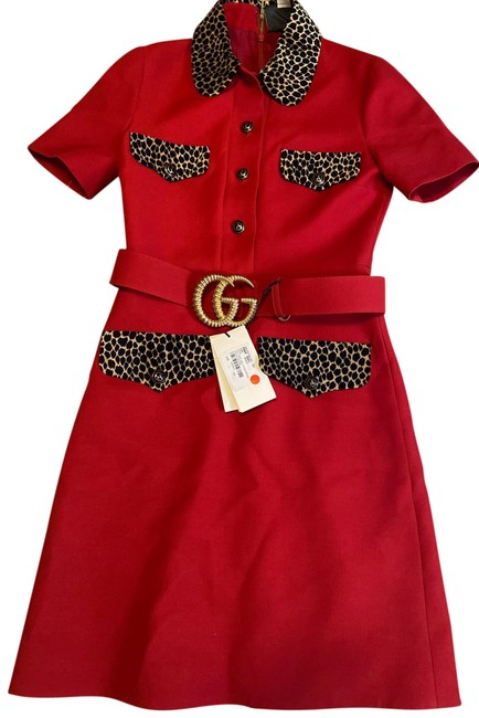 Item - Red Crepe Wool and Silk Hibiscus Mid-length Short Casual Dress Size 6 (S)