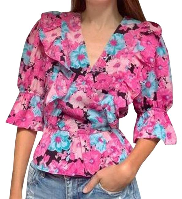 Item - Pink Floral Peplum Ruffle Front-tie Blouse Size 6 (S)