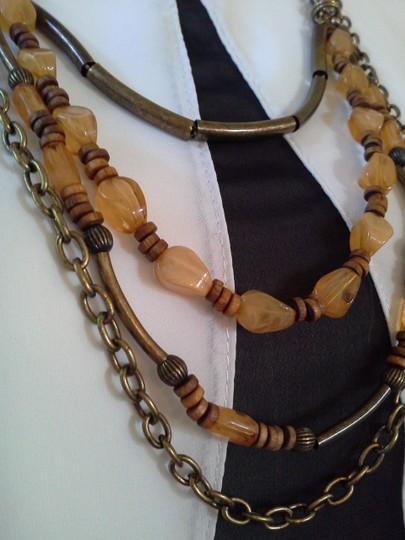 Other Multi Strand Amber Color & Brass Tone Necklace