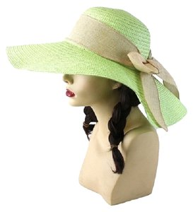 Green Fashion Statement Wide Brim Bow Accent Large Floppy Summer Beach Sun Dressy Hat Cap