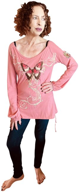 Item - Pink Johnny Was Embroidered Long Sleeve Tee Shirt Size 4 (S)