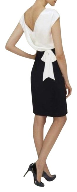 Item - Black White Paolina Ponti and Silk Mix Mid-length Cocktail Dress Size 6 (S)