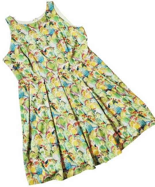 Item - Green Winnie Sleeveless Watercolor Cactus Fit & Flare Mid-length Work/Office Dress Size 16 (XL, Plus 0x)
