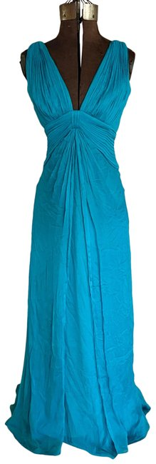 Item - Teal Silk Pleated Long Formal Dress Size 4 (S)